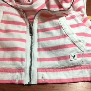 American Eagle Outfitters Jackets & Coats - American Eagle Pink & White Striped Zip Hoodie